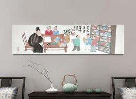 【强烈推荐】【来自画家本人,保证真迹】李彦杰,河北画家,河北省美术家协会会员。人物画10《贫不卖书留子读》(80×22cm)。