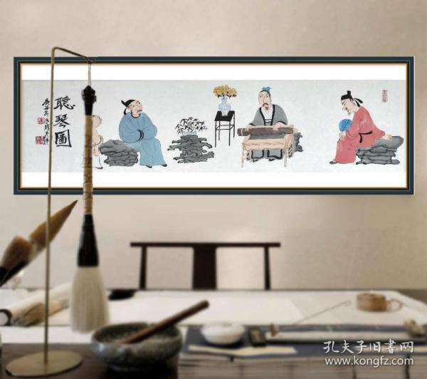 【强烈推荐】【来自画家本人,保证真迹】李彦杰,河北画家,河北省美术家协会会员。人物画9《听琴图》(80×22cm)。
