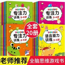 儿童思维逻辑训练书全套20册 2-3-6岁幼儿注意力训练专注力训练益智游戏 走迷宫连线找不同连连看 幼儿园教材宝宝智力开发全脑书籍