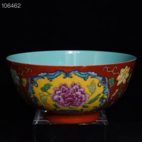 康熙珊瑚红地珐琅彩花卉纹碗