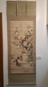 清早期佚名老画老纸本绫裱(富贵花狸图)画心134*61cm精致原配老实心轴头老桐木双盒子