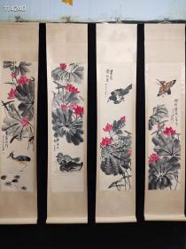 花鸟画,齐白石,尺寸:198×40cm 单幅画心尺寸:130×33cm