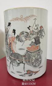 清中期墨彩人物瓷笔筒