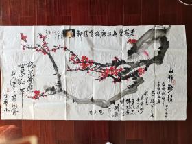 台湾丁华永,杨汝舟,李岳江,刘巍,包少奇等合画《古梅献瑞》,136cm*68cm。