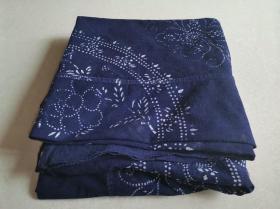老民俗手工艺印染蓝印花布凤穿牡丹纹饰包袱布一对