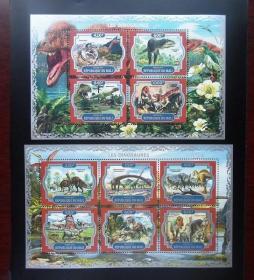 外国邮票 史前动物恐龙大型邮票小型张一对2张