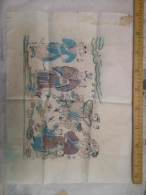 老旧水印套色木板画  七月七  织女牛郎