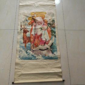 大幅福禄寿中堂年画。