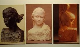 雕塑空白明信片三枚