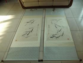 著名油画家彭彬绘画作品墨虾图