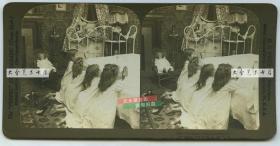 清末民国立体照片----1904年四位小女孩睡前祈祷