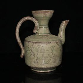 越窑走兽纹茶壶