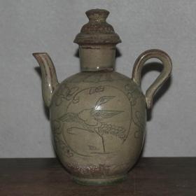 越窑仙鹤纹茶壶