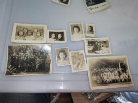 """民国原版 抗战时期 """"福建长汀 福建省立学校 女学生 师生联欢会合影、龙岩旅汀同学,女同学参军等等照片9张。"""