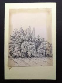十九世纪钢笔手绘版画底稿原稿《树丛后的乡间别墅》包老包真