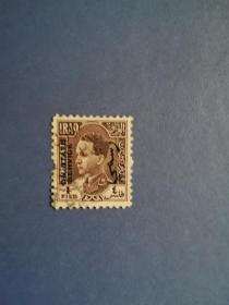 外国邮票  伊拉克邮票1934年 加齐国王 雕版加盖公事邮票(信销票)