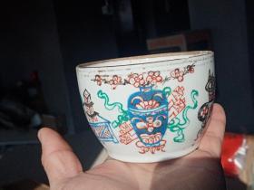 清末民国名家胡荣茂手绘博古花卉碗 老碗 手绘瓷器