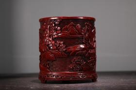 珍藏剔红漆器山水图笔筒