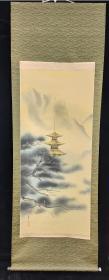 【日本回流】原装旧裱 菅子 国画作品《深山远寺》一幅(绢本立轴,画心约6.6平尺,款识钤印:良印、菅子)HXTX209838