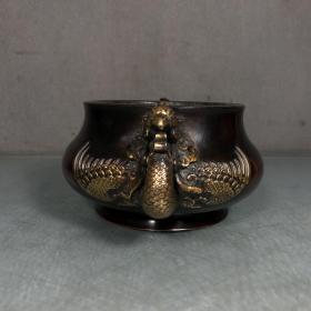 紫铜鎏金凤耳炉