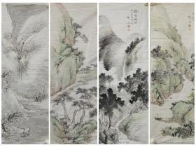 柳仙【山水四条屏】1920年纸本单片,保民国初期手绘作品,品相如图边有小残,画面完好。 尺寸:107 x52 cm。