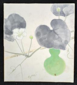 【日本回流】原装精美卡纸 佚名 国画作品《葫芦》一幅(纸本镜心,尺寸:27*24cm)HXTX209805