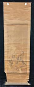 【日本回流】原装旧裱 北海醉道人 国画作品《仙人图》一幅(纸本立轴,画心约5平尺,款识钤印:天地一闲人)HXTX209839