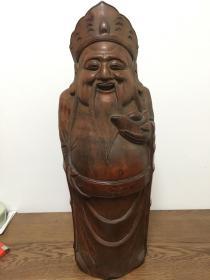 老竹雕财神(包邮)