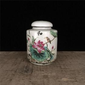 粉彩荷花花鸟茶叶罐