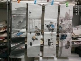 四川著名画家黄开武人物花鸟四条屏
