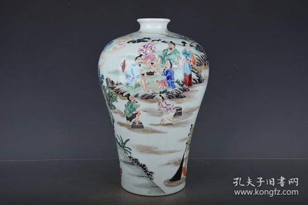 清雍正粉彩渔家纹梅瓶