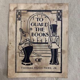 1898年老藏书票  胖守卫与高守卫藏书票