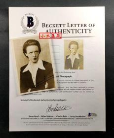 """""""居里夫人次女,钢琴家、作家"""" 艾娃·居里 签名原版新闻照 由三大签名鉴定公司之一Beckett(BAS)提供鉴定"""