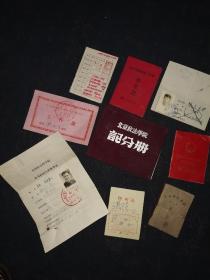 著名法学家:钱仍茂50-80年代北京政法大学记分册等各种证书9个