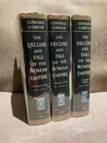 The Decline and Fall of Roman Empire(爱德华·吉本《罗马帝国衰亡史》,三卷全,布面精装,带漂亮护封,老板Modern Library,品相好)