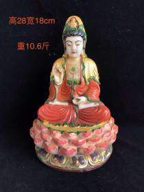 和田玉 彩绘描金观音菩萨佛像,玉质细腻  油润光滑  雕工精致 皮壳老辣 沁色自然  品相如图