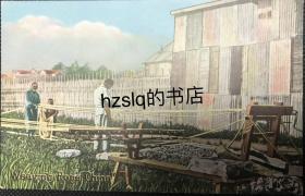 【影像资料】清末民初中国民俗风情明信片_男子编草绳场景及周边景象