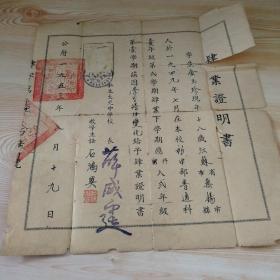 初中毕业证书(1953.8.19)