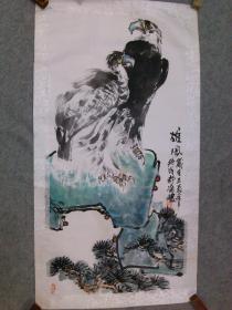 四川名家 杨老 国画松鹰图 镜片 手绘原稿真迹 保真