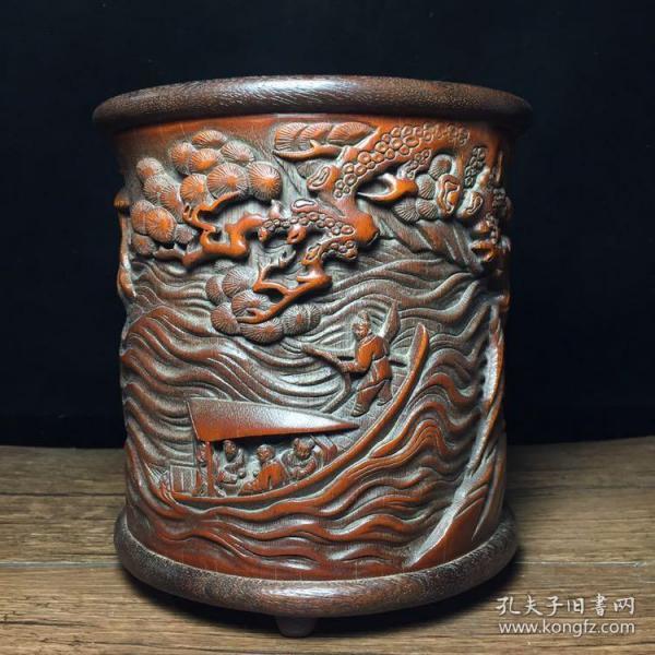 竹雕笔筒,高15.5公分,宽15公分,特价430