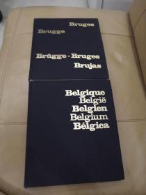 法文原版 1984年欧洲历史画册【16开精装铜版纸两本一套合售】Bruges Bruge/Belgique Belgie
