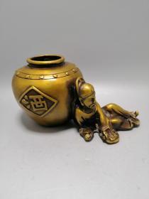 纯铜黄铜李白酒缸摆件一尊