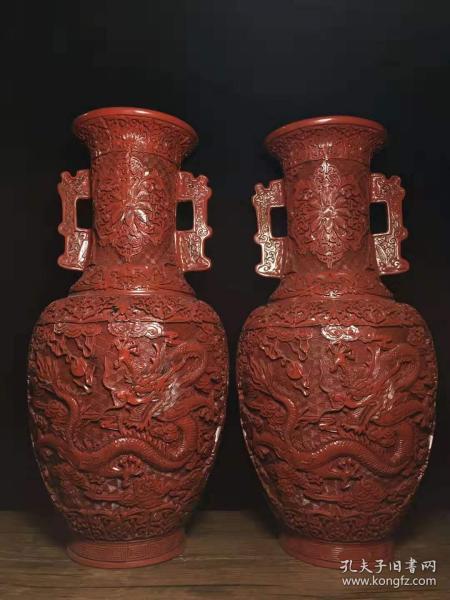 老古董民间特色手工艺漆器花瓶一对y