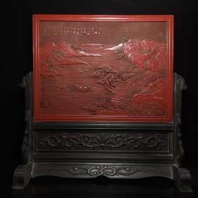 老古玩特色手工艺剔红漆器山水人物故事插屏y
