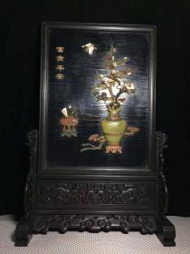 老古玩收藏手工艺小叶紫檀木框漆器镶多宝屏风y