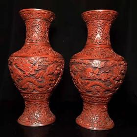 老古玩漆器特色手工艺锡红漆器花瓶一对y