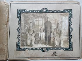 老照片:民国早期长衫照(带木板)