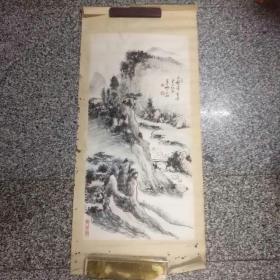 叶少珊(山水)1件,托片,,,叶少珊(1919一2000年)黄宾虹安徽歙县同乡,也是黄宾虹在杭州的关门弟子,著名的山水画家,著有(黄宾虹传艺录)