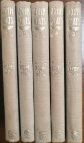 1900-1901年版《约翰济慈著作全集》The Complete Works of John Keats,三册诗集,两册书信集,共五册,布面精装,书顶毛边,稀有珍品