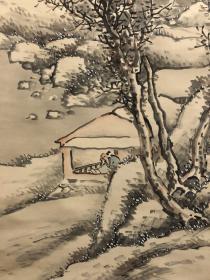 日本近代名家山本石庄映雪读书图,绢本绫裱,檀木轴头,画家自题原木箱,画心132*36。其可贵之处在画家亲自裱装,映雪读书取自中国勤奋学习典故,宜挂于书室,或赠学子